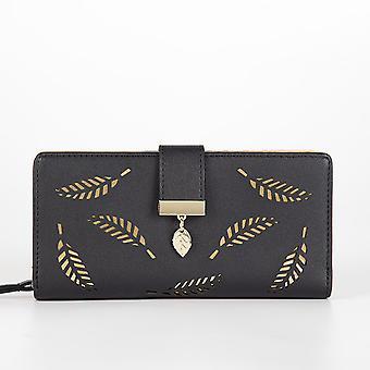 Women's Long Leaf Bifold Wallet Leather Card Holder Purse Zipper Buckle Elegant Clutch Handbag