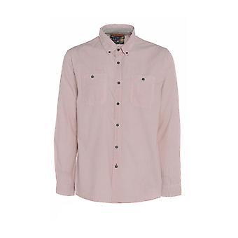 男性のピンクのミニ シェブロン プリント長袖シャツ TP564 M
