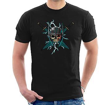 Ragnarok Thor Skull Cross zwaarden mannen T-Shirt