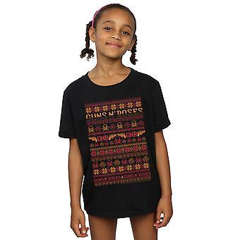 Guns N Roses meisjes Christmas Fair Isle T-Shirt