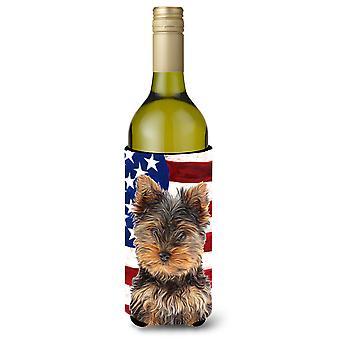 Yhdysvallat Yhdysvaltain lipun Yorkie pentu / Yorkshirenterrieri Viini pullo juoma Ins