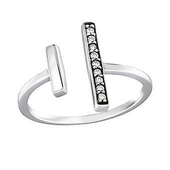 Open Bar - 925 Sterling Silver Jewelled Rings - W32341X