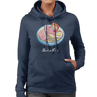 麺泳ぐポニョ レディース フード付きスウェット シャツ