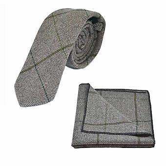 Luxe lichte kaki bruin Herringbone controleren Tie & zak vierkante Set, Tweed