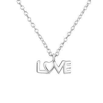 «люблю» - 925 стерлингового серебра Обычная ожерелья - W35112x