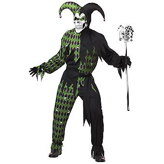 Jokes On You Evil Jester Clown Mardi Gras Green Black Mardi Gras Men Costume