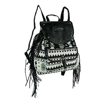 Black and White Tribal Print Ladies Fringe Backpack