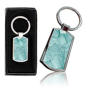 i-Tronixs - Premium Marble Design Chrome Metal Keyring with Free Gift Box (1-Pack) - 0042