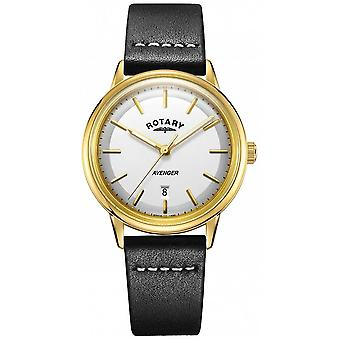 Rotary Mens Avenger White Dial Gold Tone Case Leather Strap GS05343/03 Watch