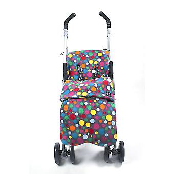 Genesis Universal Grey & Colourful Dots Soft Fleece Footmuff Cosytoes  Buggy Liner