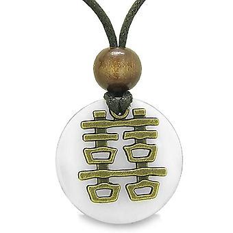 Dubbel geluk Feng Shui Amulet Fortune bevoegdheden witte Snowflake Quartz munt medaillon ketting