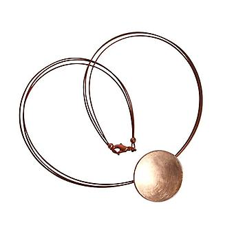 Gold plated necklace Rose Gold Pendant disc of silver rose gold plated