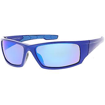 Rettangolo TR-90 Wrap sport occhiali da sole lente specchiata 62mm