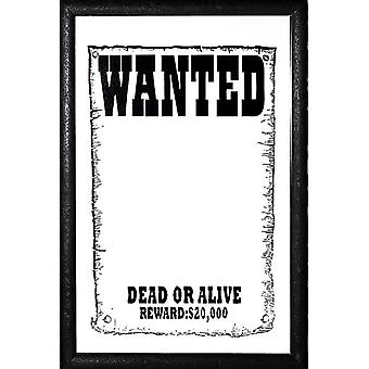 Wanted level dead or alive-wall mirror with black plastic framing wood
