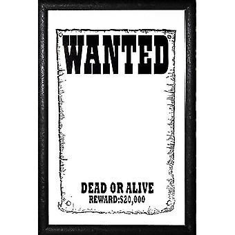 Wanted Spiegel -dead or alive- Wandspiegel mit schwarzer Kunststoffrahmung in Holzoptik