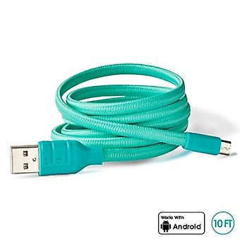 BUQU Cordz 10 Foot Micro USB Data/Sync/Charge Cable - Turquoise