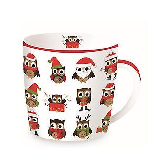 Stow Green Christmas Mug In A Tin, Christmas Owls