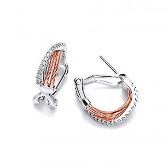 Cavendish French Silver, CZ and Rose Gold Rope Hoop Earrings
