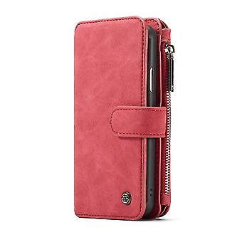 CASEME iPhone XR Retro Leder Brieftasche Fall-rot