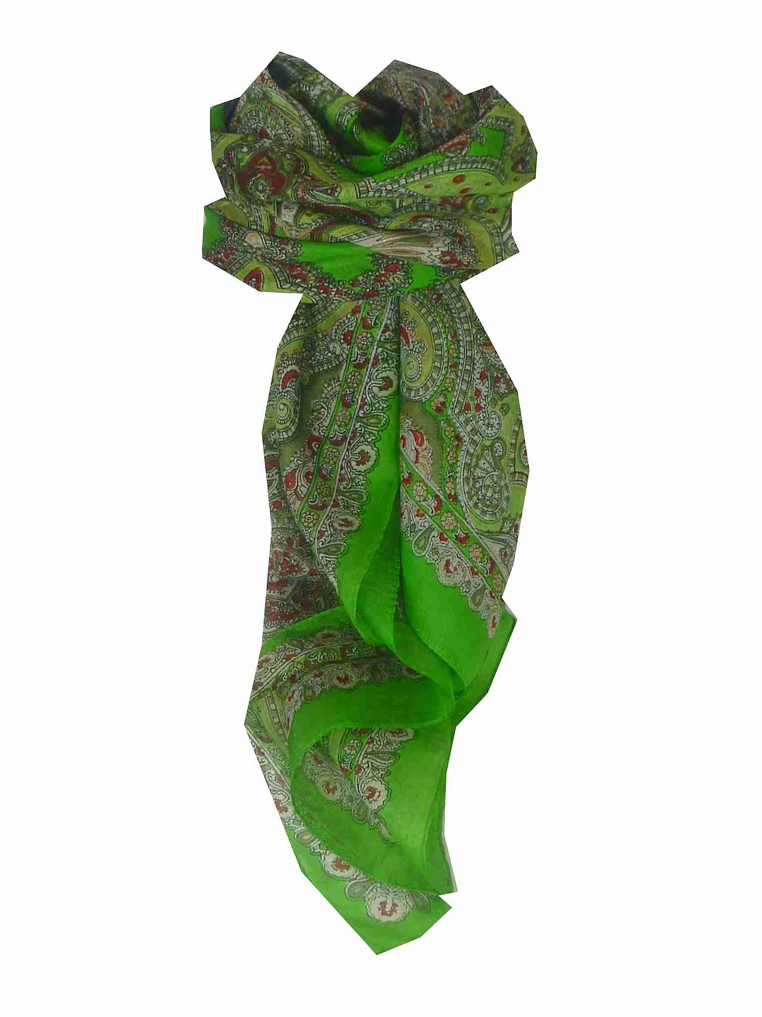 Mulberry Silk Traditional Square Scarf Madras Green by Pashmina & Silk