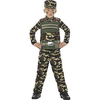 Kamuflasje militære Boy drakt, grønn, med topp, bukser & lue