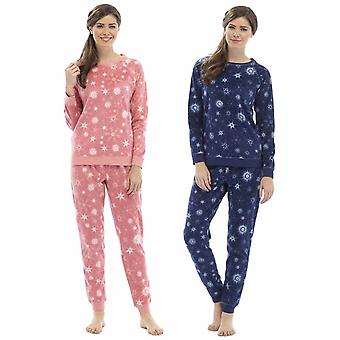 2 pack damer Foxbury udskrives Fleece & Lurex tråd pyjamas nattøj
