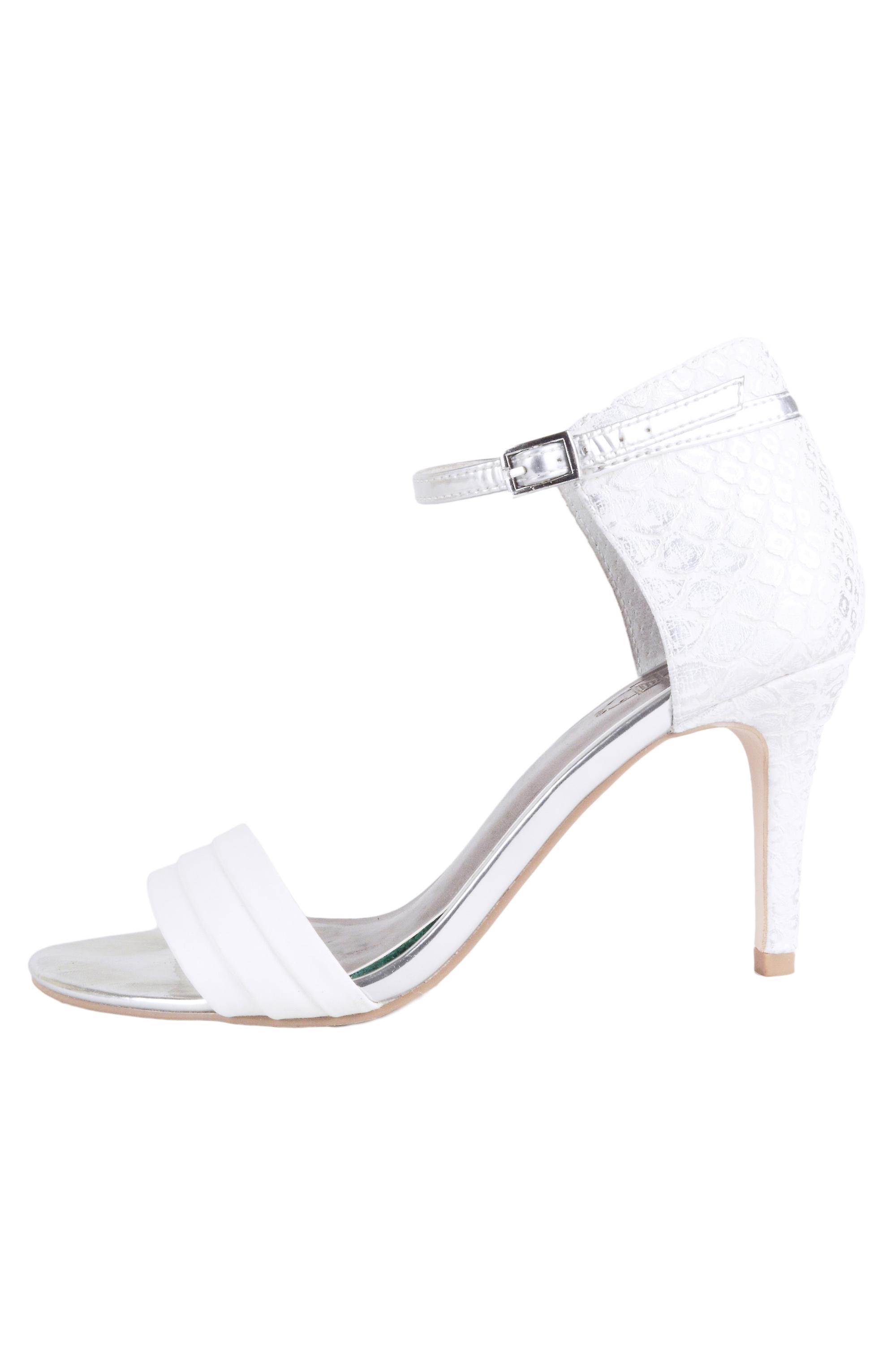 Lovemystyle Sandal Heels With Metallic Snakeskin Heel