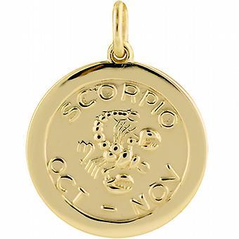 9ct goud 22mm ronde Zodiac Disc hanger Schorpioen