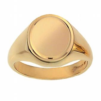 9ct Gold 16x14mm solid engine turned line border oval Signet Ring Size W