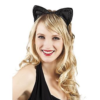 Musta sametti kissan korvat naamiaispuku lisävaruste