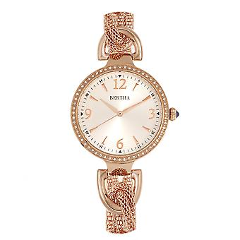 Bertha Sarah Chain-Link Watch w/Hanging Charm - Rose Gold/Silver