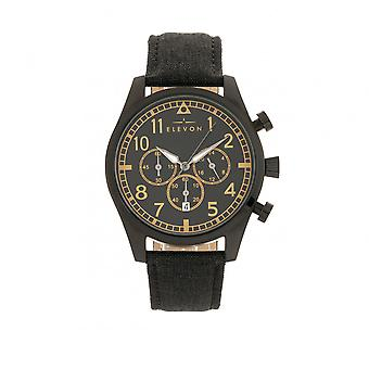 Elevon Curtiss Chronograph Nylon-Overlaid Leather-Band Watch - Black