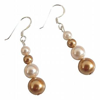 Customize Bridesmaid Gift Swarovski Gold Ivory Pearls Earrings