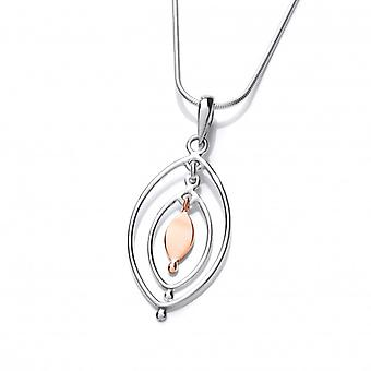 """Cavendish French Sterling Silver and Copper Oval Pendant with 16-18"""" Silver Chain"""