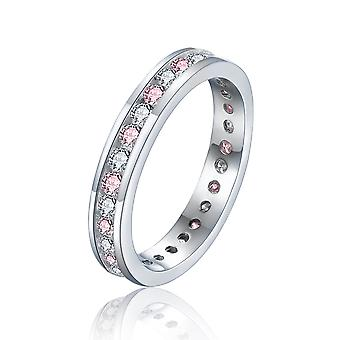 925 Sterling Silver Pink And White Round Cut Full Eternity Ring