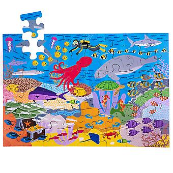 Bigjigs Toys Children's Wooden Under the Sea Floor Jigsaw Puzzle (48 Piece)