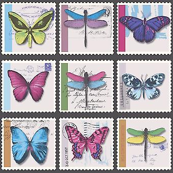 Pink Blue Butterfly Collage Metallic Wallpaper Dragonfly Stamps Vinyl Holden
