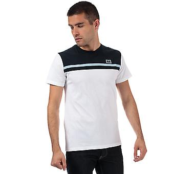 Mens Weekend Offender Black Dolphin Panel T-Shirt In White- Short Sleeve- Ribbed