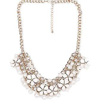 Dames kleurrijke bloem parel stijl juweel verklaring Swarovski kristal ketting