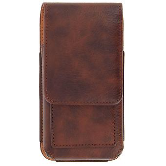 Vertical Leather Belt Cover Smartphone Size XL - Brown