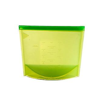 Reusable silicone Ziplock bag with dimensions-green