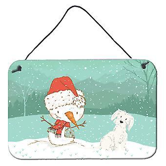 Maltese Snowman Christmas Wall or Door Hanging Prints
