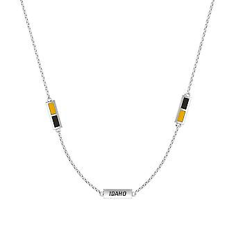 University Of Idaho Sterling Silver Engraved Triple Station Necklace In Yellow & Black
