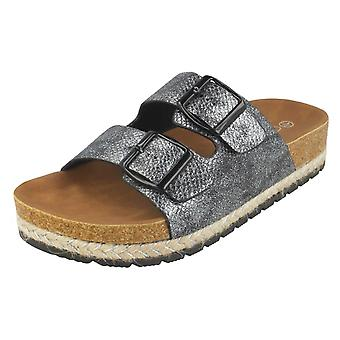 Ladies Spot On Double Strap Mules F10898