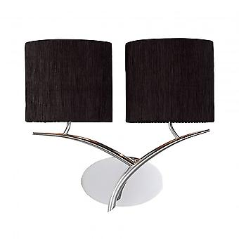 Mantra Eve Wall Lamp Switched 2 Light E27, Polished Chrome With Black Oval Shades