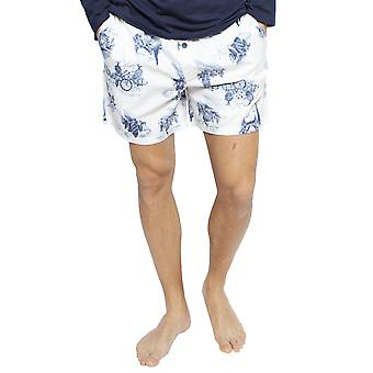 Cyberjammies 6402 Men's Harper White Mix London Print Cotton Pyjama Short