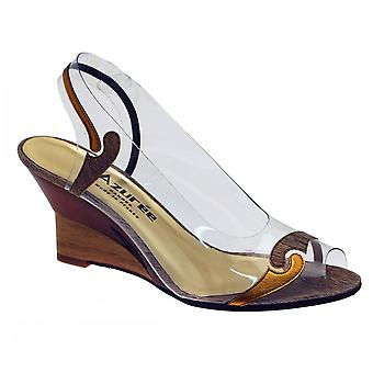 Azuree Bronze Peeptoe Wedge Two Tone Mofit Sandal