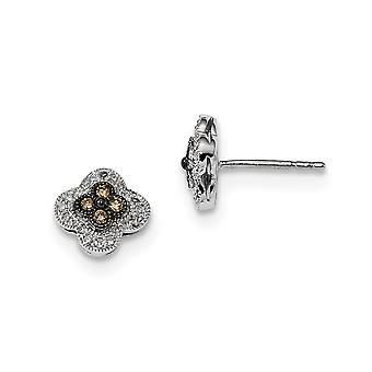 925 Sterling Silver Champagne Diamond Small Flower Post Earrings Jewelry Gifts for Women - .25 dwt