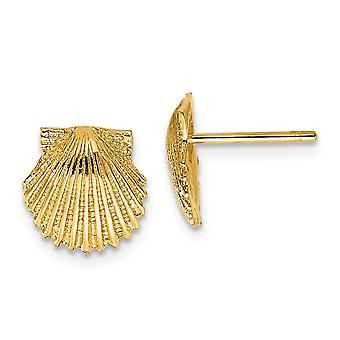 14k Yellow Gold Textured Polished and satin Scallop Shell Post Earrings Jewelry Gifts for Women