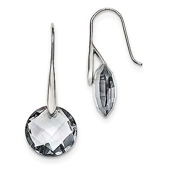 Stainless Steel Polished Grey Glass Shepherd Hook Earrings Jewelry Gifts for Women